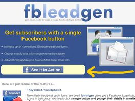 Go to: Fb Lead Gen. Email Leads Through a Single Facebook Login Button