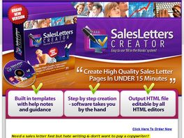 Go to: Sales Letter Creator Software-Creates Sale Pages in 15 min.or Less