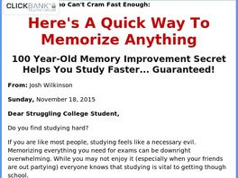 Go to: New Memory Improvement Offer For Students
