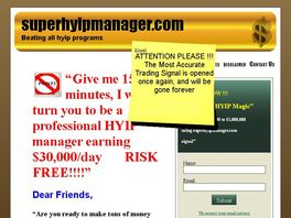 Go to: Superhyipmanager.com Trading Signal Newsletter