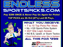 Go to: Endlesssportspicks.com Only $99 Receives All Of Our Top Sports Picks