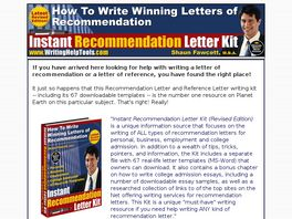 Go to: Instant Recommendation Letter Kit - 4th Ed.