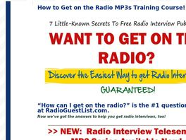Go to: How To Get Radio Interviews Fantastic New Publicity Training Course!