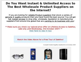 Go to: Salehoo Wholesale & Dropship Directory - #1 Affiliate Program