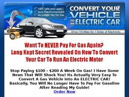 Go to: Gas2electricity- Convert Your Gas Car To Electric Power. 33.92/sale