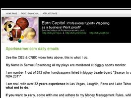 Go to: Earn Capital Wagering on Sports. Verified Record No Bs