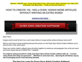 Go to: Super Spun Article Creation Software