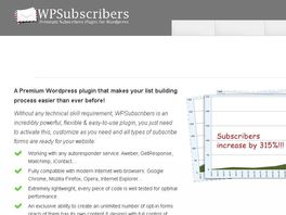 Go to: Wpsubscribers - The Premium Wordpress Subscription Plugin